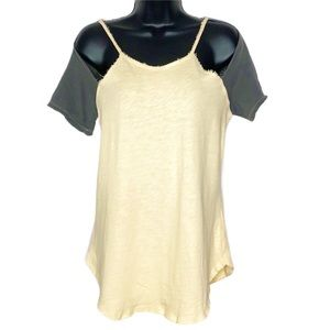 GILDED INTENT cold shoulder french terry tank | S